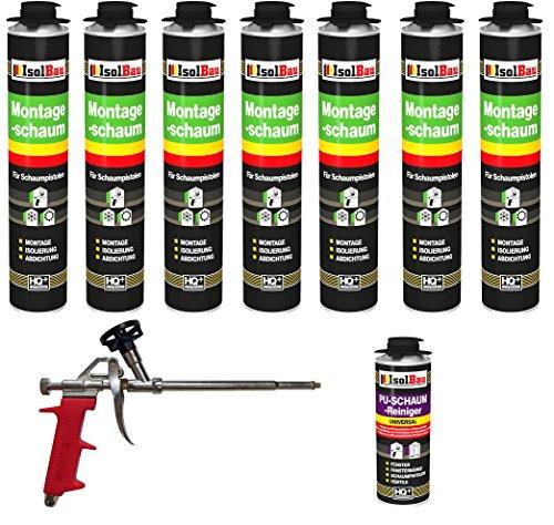 SET Pistolenschaum 7 Dosen 750 ml Montageschaum 1K Bauschaum PU-Schaum + 1 Reiniger + 1 Schaumpistole