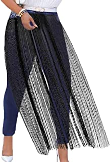 Womens Casual High Rise Tassel Patchwork Skinny Jeans Denim Pants