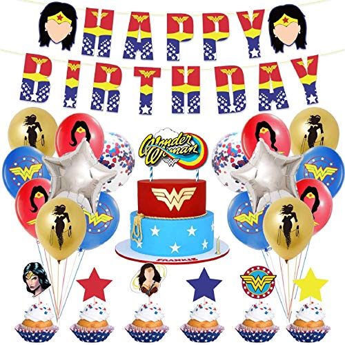 Zsroot Super Hero Girl Power Wonder For Woman Party Supplies,Super Hero Girls Birthday Party Balloon,Wonder For Woman Party Decorations For Kids Family Birthday Party Decorations