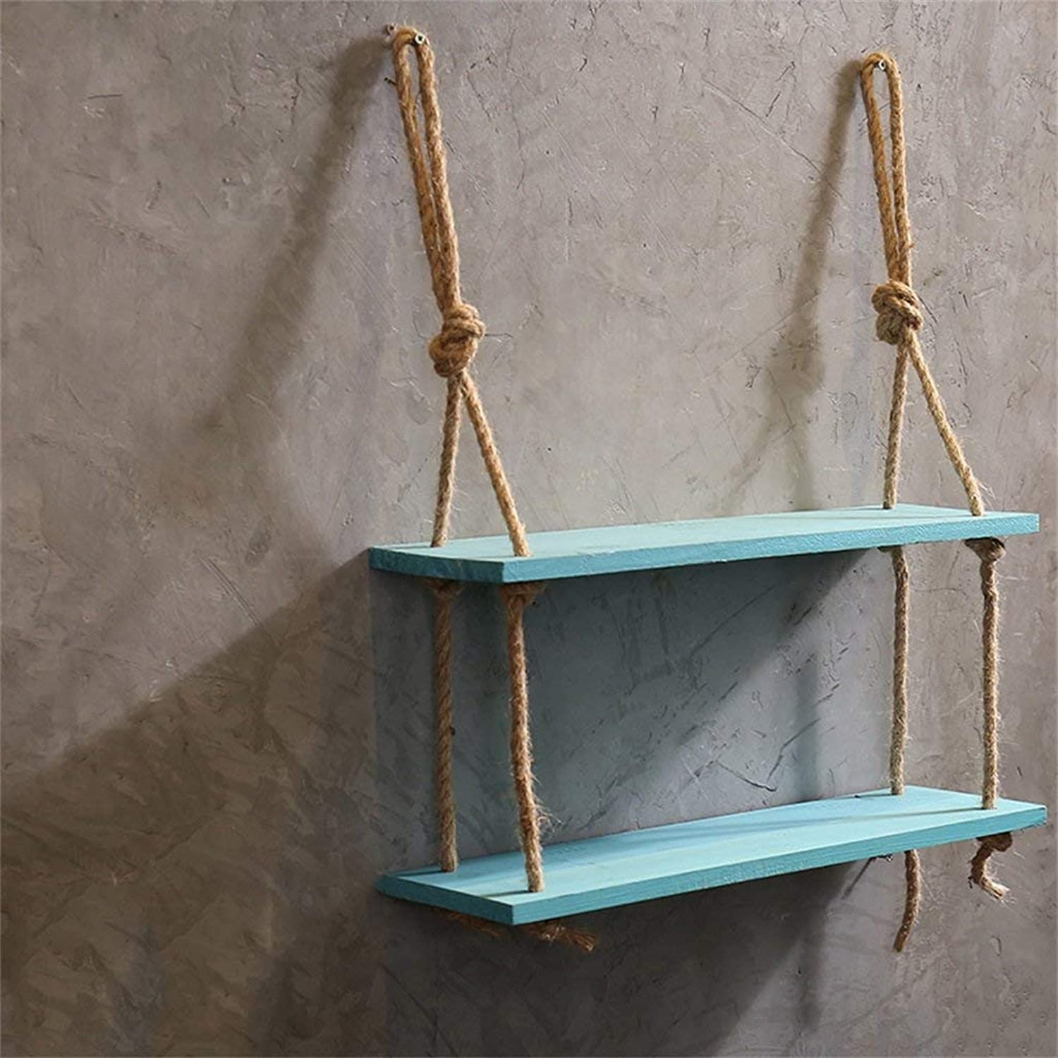 Hemp Rope Shelves Wood Wall Shelf Wall Hanging For Living Room As Bookshelf Storage Rack Wall Decorations Design bluee (Size   3 Tiers) (color   -, Size   2 Tiers)