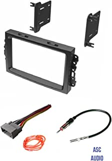 ASC Audio Car Stereo Install Dash Kit, Wire Harness, and Antenna Adapter to Add a Double Din Radio for some Chrysler Dodge Jeep with Factory Navigation- Important Compatibility and Vehicle Info Below,