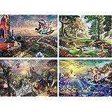 トーマス・キンケード監修 ディズニードリーム 4パターン楽しめる ジクソーパズルリトルマーメイド/美女と野獣/アラジン/くまのプーさん