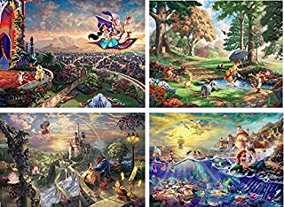 Ceaco Thomas Kinkade The Disney Dreams Collection 4 in 1 Multipack Aladdin, Winnie the Pooh, Beauty & the Beast, The Little Mermaid Jigsaw Puzzles, (4) 500 Pieces