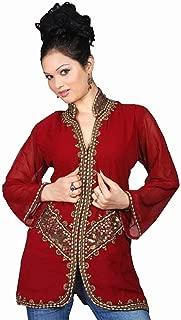 Indian Selections Burgundy Long Sleeves Kurti/Tunic with Jacket Style Beadwork