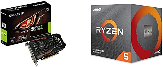 Gigabyte Geforce GTX 1050 Ti OC 4GB GDDR5 128 Bit PCI-E Graphic Card (GV-N105TOC-4GD) Bundle with AMD Ryzen 5 2600 Process...