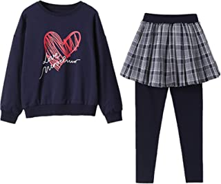 amropi Girl's 2 Pieces Outfit Clothing Set Long Sleeve Sweatshirt and Skirt Leggings Pants Tracksuit Age 4-12 Years