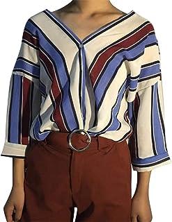 FRPE Women V Neck Stripe Print Loose Fit 3/4 Sleeve Button Down Dress Shirts