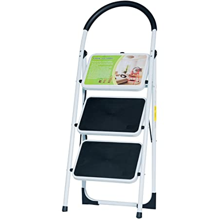 Good Life EN131 Folding 3 or 4 Step Ladder Home Depot Steel Step Ladders Lightweight 300 lb Capacity with Hand Grip Anti-Slip and Wide Pedal (3 Step)
