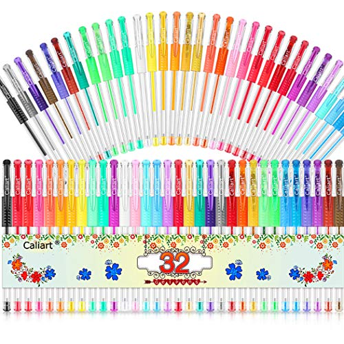 Gel Pens, Caliart 32 Colors Gel Pen Set, 40% More Ink