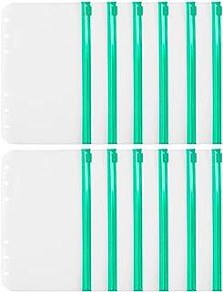 Pumpumly 12 bolsillos para carpetas A6 con cremallera para 6 anillas, transparente, hojas sueltas, bolsas para archivar do...