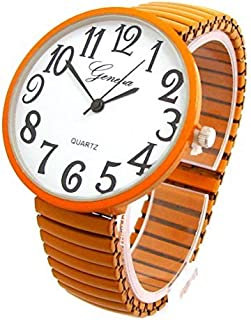 Orange Super Large Face Stretch Band Fashion Watch