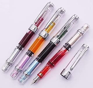4 x Wing Sung 3008 Fountain Pen Upgrated Fine Nib,Silver Trim,Piston Filling, Transparent