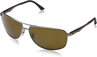 RAY-BAN Men's RB3506 Rectangular Metal Sunglasses, Gunmetal/Polarized Brown, 64 mm
