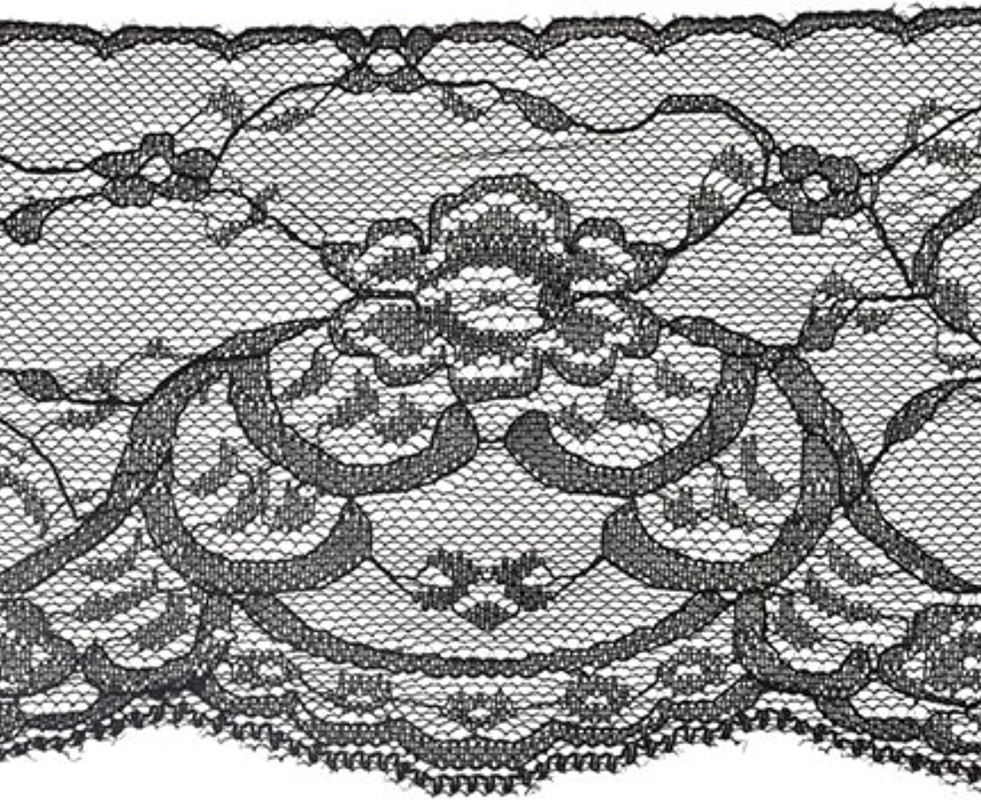 Decorative Trimmings Black Floral Galloon Flat Lace Trim 4