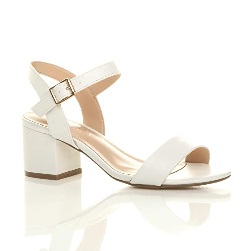 53b564b31 Womens Ladies mid Low Block Heel peep Toe Ankle Strap Strappy Party Sandals  Size