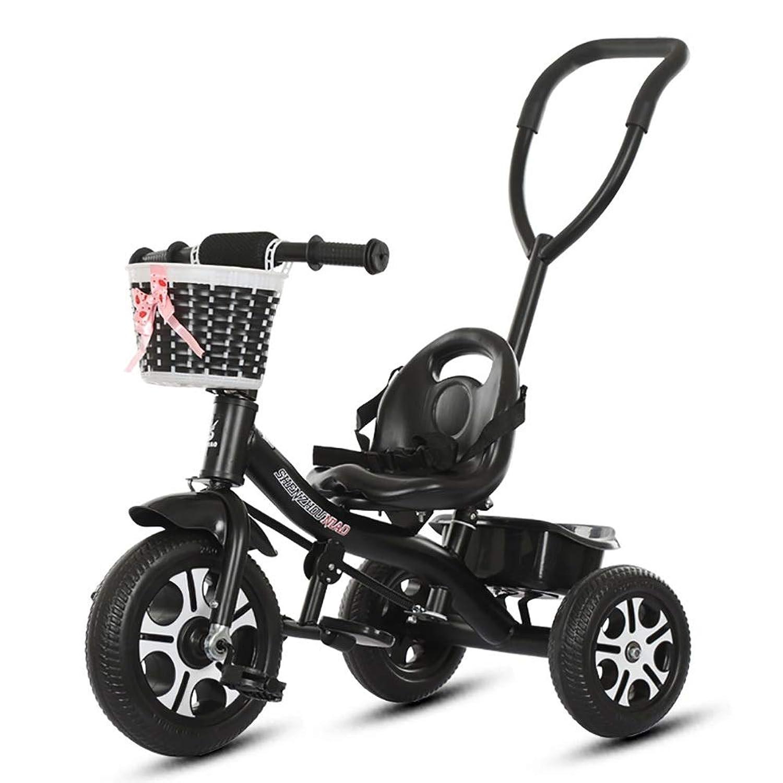 三輪車- 子供のトライク3の車輪、押しハンドルが付いている子供の三輪車、屋内及び収納用の箱が付いている屋外 (色 : ピンク)