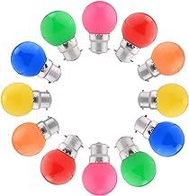 12-pack Gekleurde LED-lampen B22 Bajonet, Festoon-golflamp 1,5W, Gemengde Kleuren Rood Groen Blauw Oranje Geel Roze Voor I...