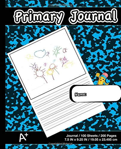 Primary Journal: Modern Blue Marble,Composition Book, draw and write journal, Unruled Top, .5 Inch Ruled Bottom Half, 100 Sheets, 7.5 in x 9.25 in, 19.05 x 23.495 cm,Soft Durable Cover