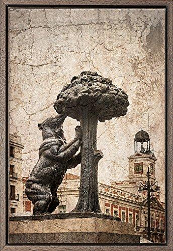 TEXFOTO Cuadro Enmarcado - Oso y madroño en Madrid- Fotografía artística y Moderna Listo para Colgar - Hecho a Mano en España (40_x_60_cm)
