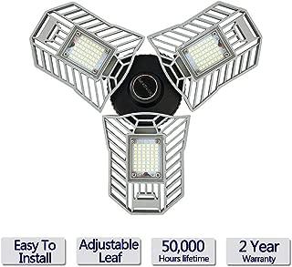 Led Garage Lights, 60W Garage Light, 6000LM Daylight LED Light Bulbs, Deformable lamp, Shop Lights for Garage, Ultra-Bright Mining Lamps with 3 Adjustable Panels, Garage Ceiling Light