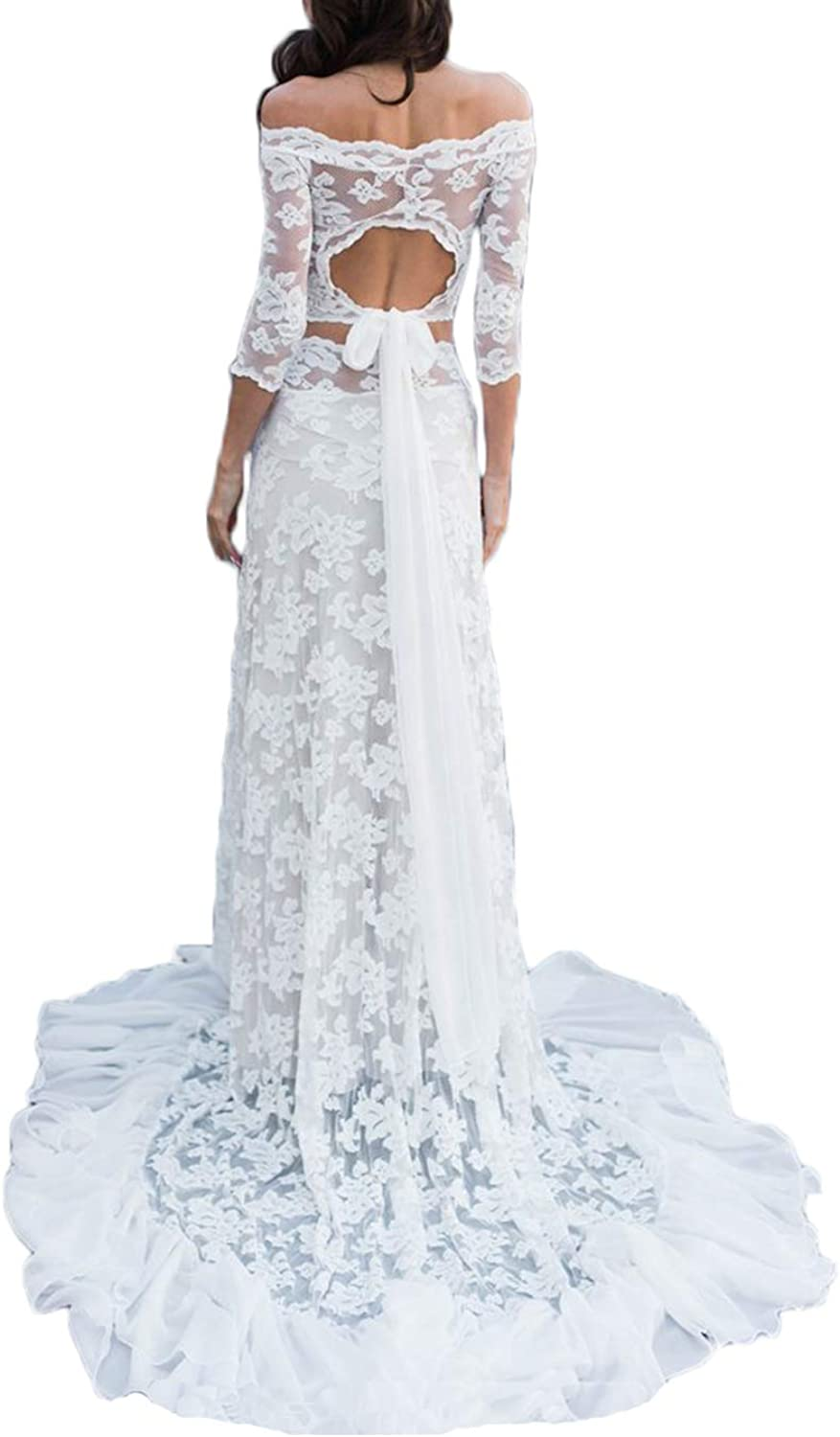 Alilith.Z Off The Shoulder Lace Wedding Dresses for Bride 3 4 Sleeves Mermaid 2 Piece Beach Bohemian Bridal Wedding Gowns