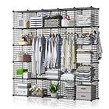 GEORGE&DANIS Wire Cube Storage Organizer Portable Wardrobe Closet Multi-Use DIY Shelf Modular Metal Rack Bookshelf Bookcase (71x14x71 inches), Black