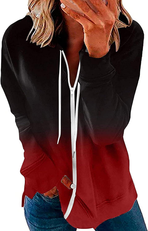 SPOORYYO Women's Full Zip Up Hoodie Long Sleeve Hooded Sweatshirts Jacket Coat for Women Loose Pullover Activewear Shirts