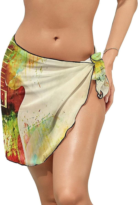 Women's Beach Sarongs Bikini Cover Ups Guitar Girl Retro Vintage Sheer Swimwear Short Skirt