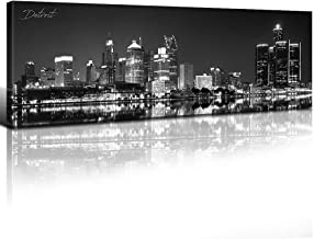 sunfrower - Detroit Michigan Building Decor Skyline Wall Art Canvas Black and White Night View Panoramic Prints Painting Urban Landscape Picture Modern Home Framed Decoration 14