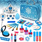 ROKKES Kids Frozen Washable Makeup - 31Pcs Real Make-up Kit Toys for Little Girls, Toddler Safe & Non-Toxic Cosmetic Set, Play Pretend Dress Up Starter, Age 4 5 6 7 8 Year Olds Child Birthday Gift