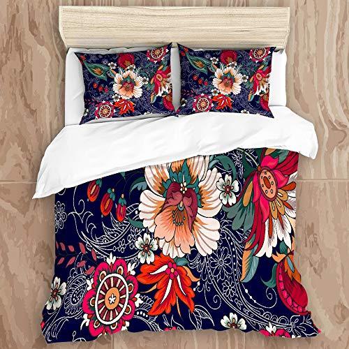 KGSPKJJ Duvet Cover Set,Paisley Flower, Navy, ColorfulDecorative 3 Piece Bedding Set with 2 Pillow Shams, Queen Size
