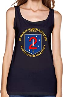 Womens USMC 2D Marine Raider Battalion Sleeveless Round Neck Loose Workout Tank Top