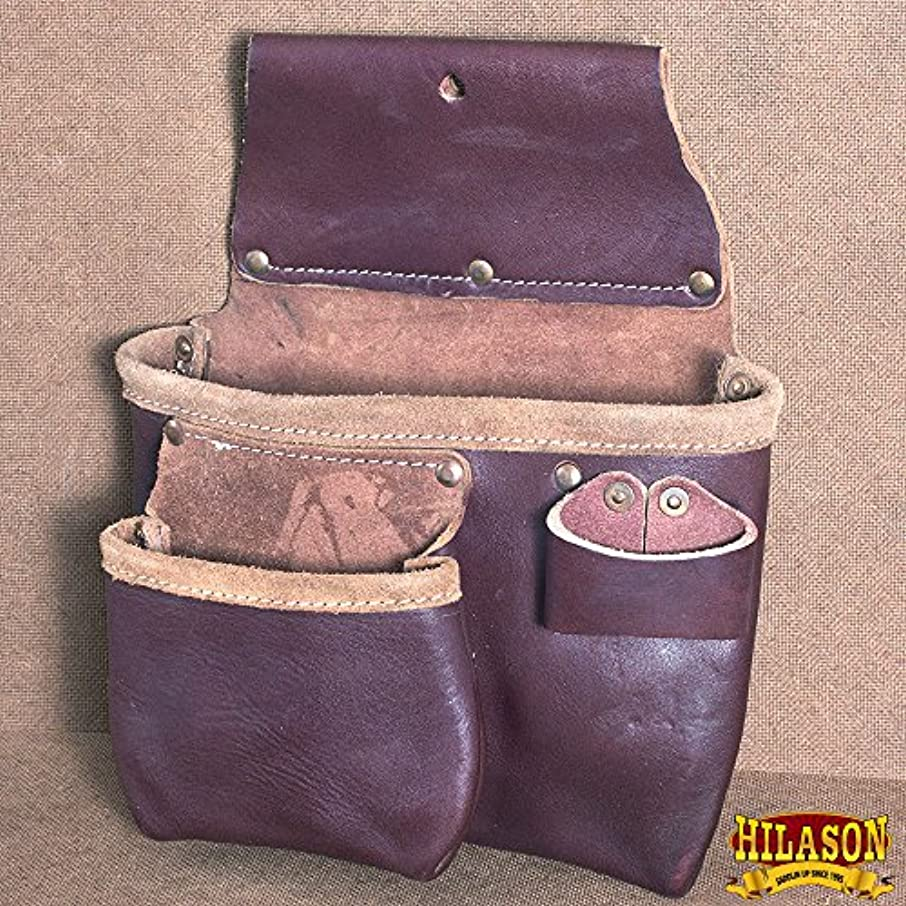 HILASON Leather 2 Pouch Crayon Hammer Tapes Holster PRO Tool Bag