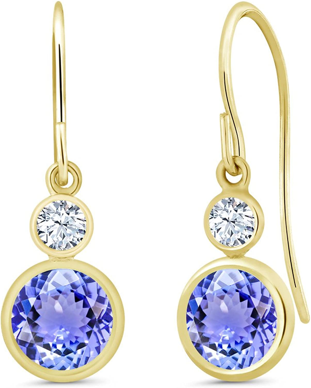 2.02 Ct Round bluee Tanzanite 14K Yellow gold Earrings