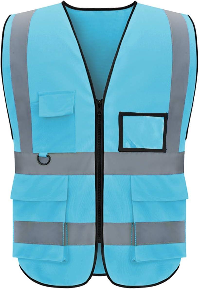 Reflective San Francisco Mall Vest Class 2 Safety Vests Pockets Zipper Price reduction with 5 ANSI