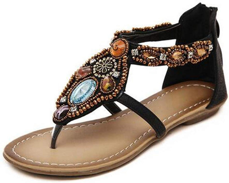 Women Gladiator Sandals Crystal Flip Flops Casual Slip on Flats Vintage T-Strap Platform shoes for Woman