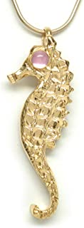 Michele Benjamin Women's 18K Gold Plated Pink Sapphire Cabochon Seahorse Necklace [Created] 18 in.
