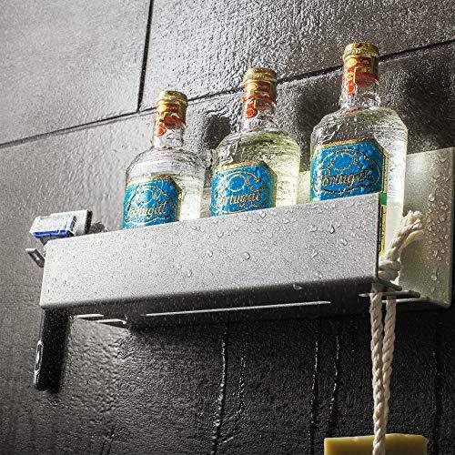 Stiller & Steiner Duschablage Ohne Bohren Selbstklebend [EXTRA Rasiererhalter] Ablage Dusche | Bad - Regal, Shampoo Halterung für Dusche aus Aluminium, Duschkorb, Badezimmer-Ablage, Duschregal