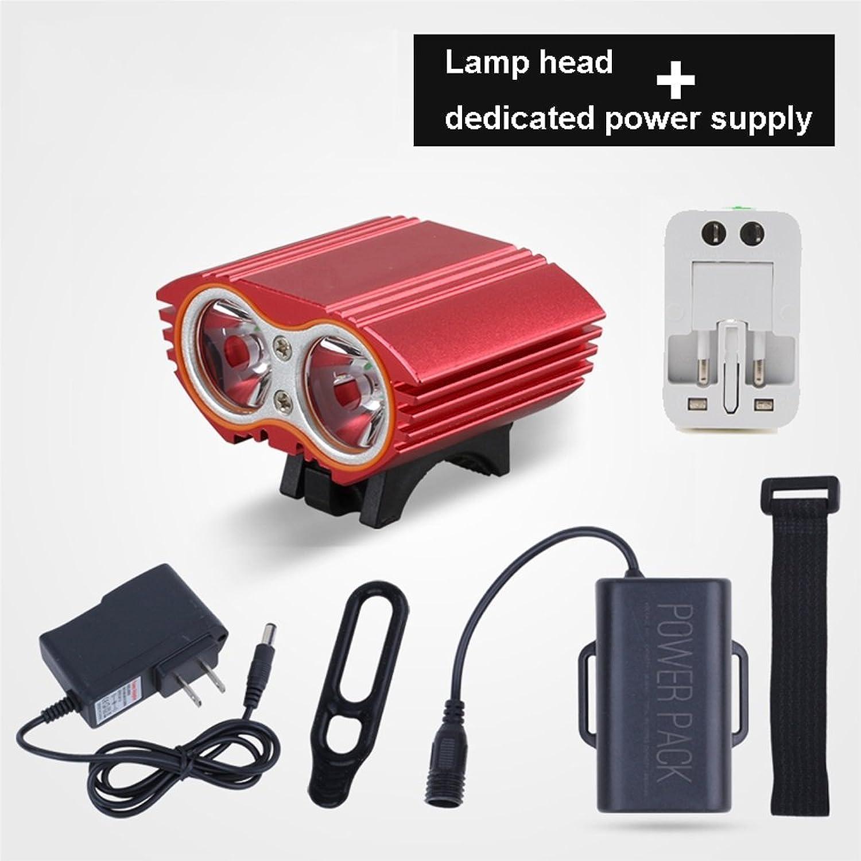 Mountain bike double T6 headlights super bright dual lights USB charging seismic waterproof riding headlights