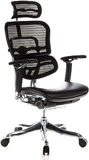 hjh OFFICE 652640 Silla de Oficina ERGOHUMAN Plus Tejido de Malla y Cuero Negro, amplios ajustes, sólido Aluminio Pulido, ergonómico