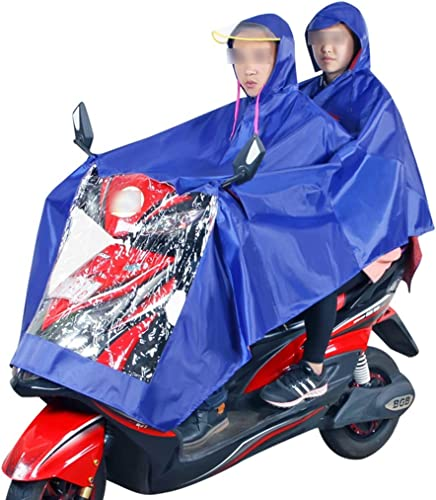 Vestes Coupe-Pluie- Double Moto Imperméable Mode Transparent Grand Chapeau équitation en Plein Air Voiture électrique Imperméable Poncho épaississeHommest (Couleur   Bleu, Taille   XXXL)