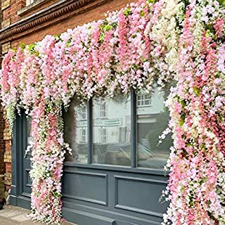 Shop2Beat Realistic Artificial Silk Wisteria Vine Ratta Silk Hanging Flower Plant for Home Party, Wedding Decor and Other Events 6 pcs– (White)