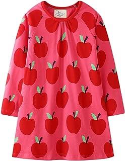 Toddler Girls Longsleeve Dress Cotton Jersey Casual Dresses Cartoon Applique