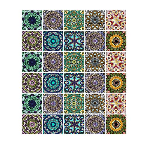 Gwotfy Adhesivos para Azulejos 30 Piezas Adhesivos para Azulejos de Mosaico Autoadhesivo Impermeable Cocina Baño Piso Etiqueta para Azulejos de Pared Etiqueta de Transferencia de Azulejos de Mosaico