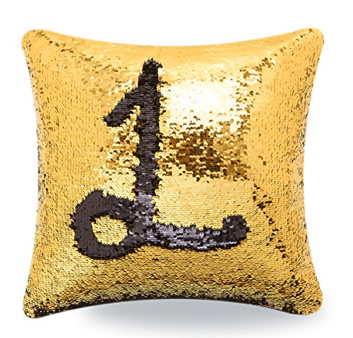 Livedeal Reversible Sequins Mermaid Pillow Cases 40x40cm Gold and Black