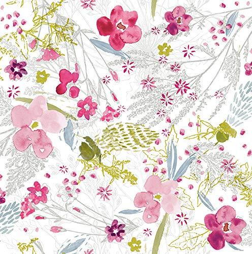 Mambo-Design PVC Tischdecke Bloom Blumen bunt Wachstuch • Eckig • Länge & Breite wählbar • abwaschbare Tischdecke Frühling, Größe:90 x 90 cm