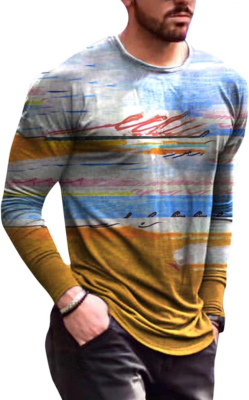 Aayomet Shirts for Men Causal Abstract Graffiti 3D Printing Round Neck Men's Street T-Shirt Long Sleeve Shirts