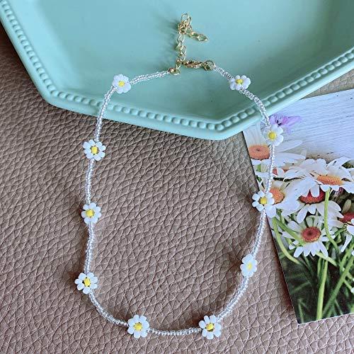 Shangwang - Collar corto perlado hecho a mano colorido, acrílico, flor de margarita, transparente 21