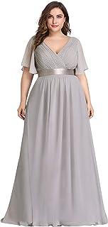 b667705df9 Ever-Pretty Robe de Soirée Longue Femme Double Col V Manche Courte Grande  Taille