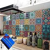 Pegatinas de Azulejos PVC de Cocina Baño, Adhesivo para Azulejos Autoadhesivo, Vinilos Azulejos Marroquí Estilo, Calcomanías de Azulejos, Azulejo Transferencias Pegatinas de Pared DIY(30 Pcs 10X10 cm)